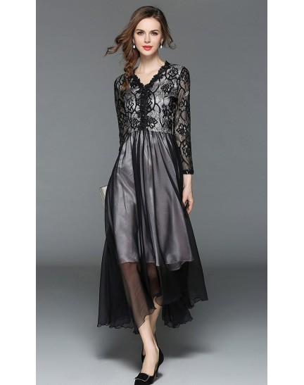 BDS09128575X V neck embroidery dinner dress REAL PHOTO