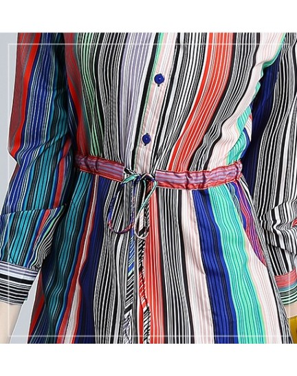 BDS09129935X V neck stripes button dress REAL PHOTO