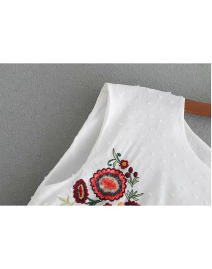 BDS0913001Y Embroidery high waisted white dress REAL PHOTO