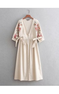 BDS0913002Y Embroidery V neck dress with bow REAL PHOTO