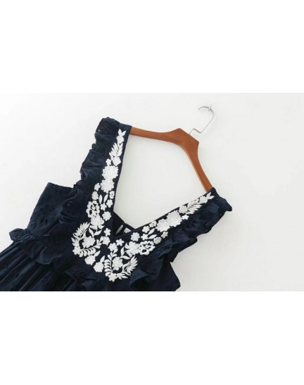 BDS0913005Y V neck embroidery crochet dress REAL PHOTO