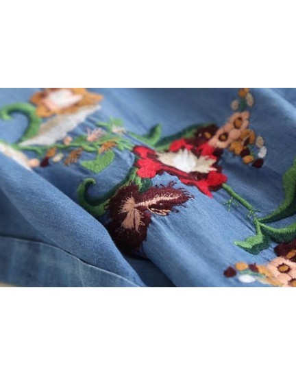 BDS0913006S Soft denim embroidery dress REAL PHOTO