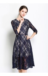 BDS09136528Y V neck lace dress REAL PHOTO