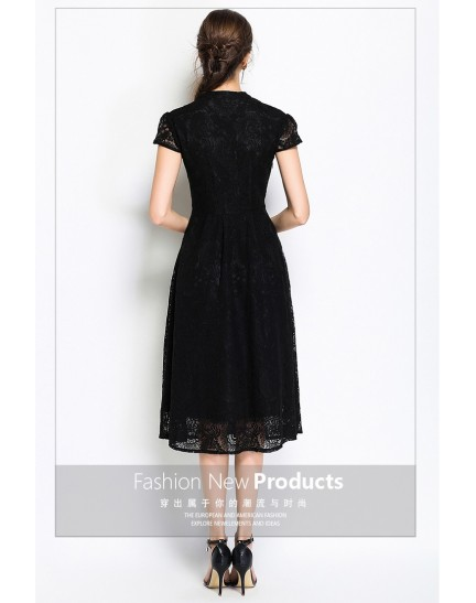 BDS09144218Y V neck button lace dress REAL PHOTO