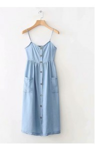 BDS0914001S Soft jeans strappy dress REAL PHOTO