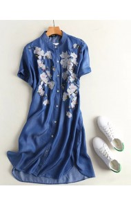 BDS0914002S Soft jeans embroidery dress REAL PHOTO e95a725ea