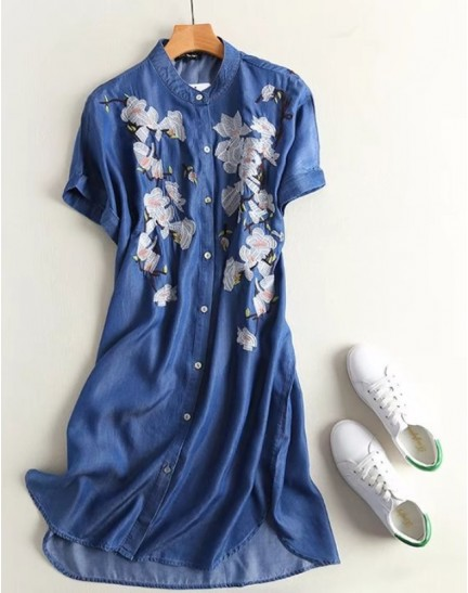 BDS0914002S Soft jeans embroidery dress REAL PHOTO
