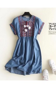 BDS0914003S High waisted embroidery soft jeans dress REAL PHOTO