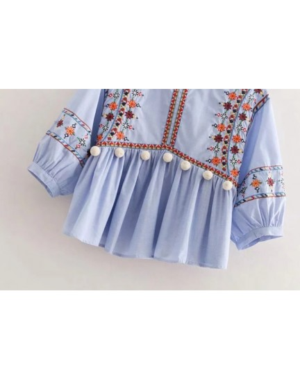 BTP0914003S Embroidery puff sleeves blouse REAL PHOTO