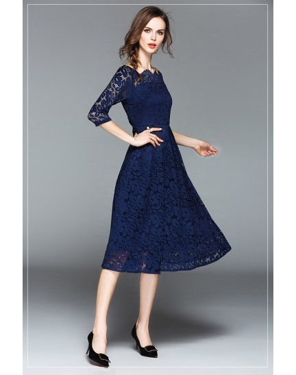 BDS09195218Y Off shoulder full lace dress REAL PHOTO