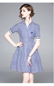 BDS09209388H Stripes dress with flower corsage REAL PHOTO