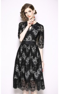 BDS09212166X Mini V floral lace dress REAL PHOTO
