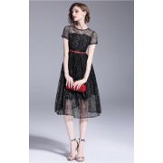 BDS09223006L Glitter full lace belted dress REAL PHOTO
