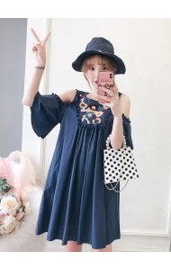 KDS0922327S Embroidery off shoulder dress REAL PHOTO
