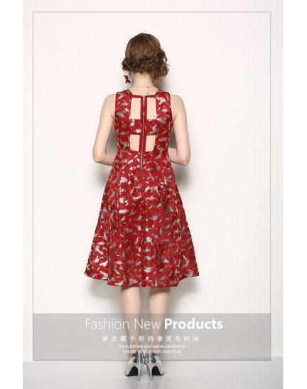 BDS09235716X Halter bare back jacquard dress REAL PHOTO