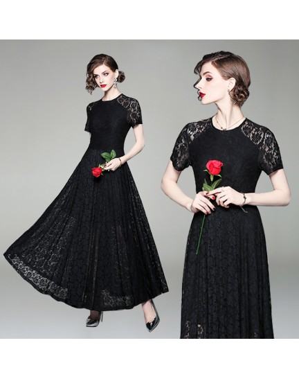 BDS09231498H Lace shoulder maxi skater dress REAL PHOTO