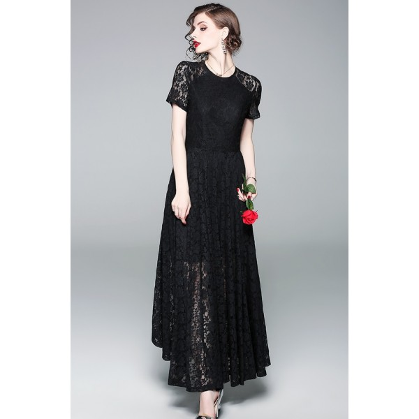 ... BDS09231498H Lace shoulder maxi skater dress REAL PHOTO ... 46d6ca782