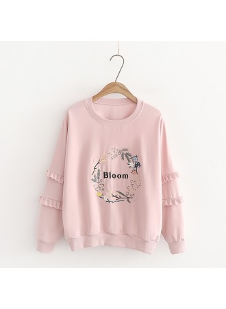 KTP09252166W Embroidery floral sweater REAL PHOTO
