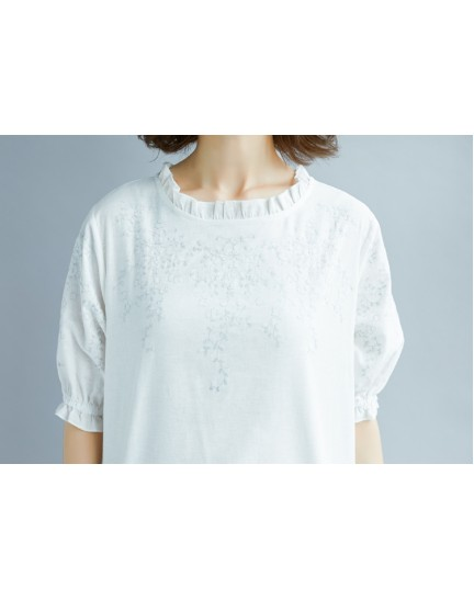 KTP09263409G Embroidery linen puff sleeves blouse REAL PHOTO