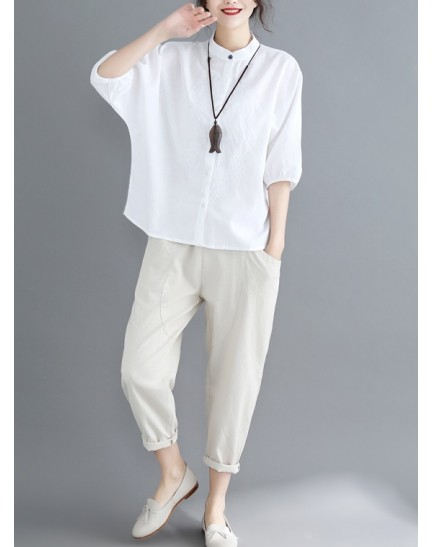 KTP09263209G Embroidery linen half sleeves blouse REAL PHOTO