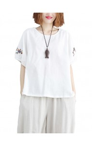 KTP09265409G Linen blouse with embroidery sleeves REAL PHOTO