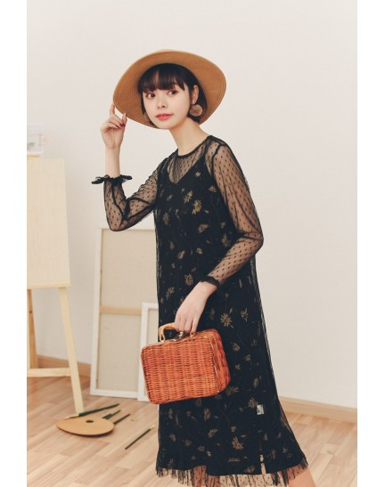 KDS09283360T 2 piece floral netting dress REAL PHOTO