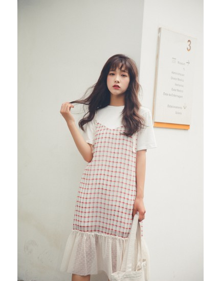 KDS09281681T Fake 2 piece plaid lace dress REAL PHOTO