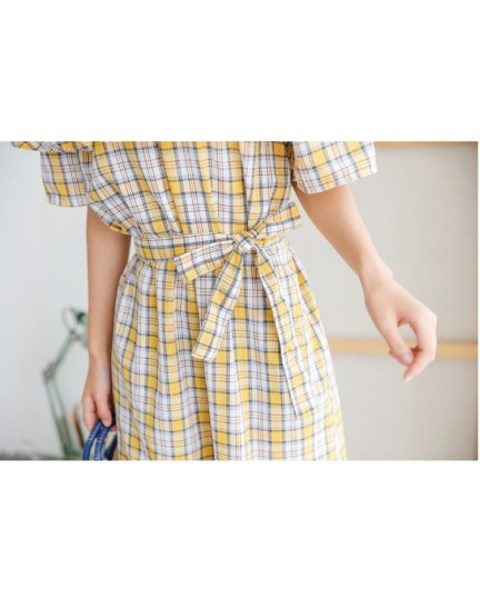 KDS09281406D Shoulder off plaid dress REAL PHOTO