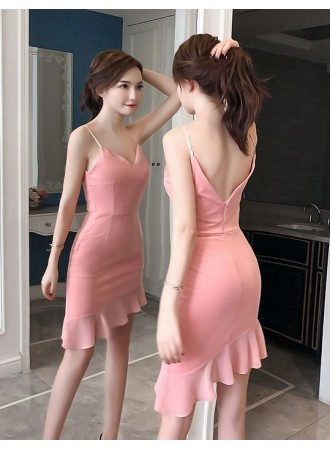 KDS09282766Y V back mermaid strappy dress REAL PHOTO