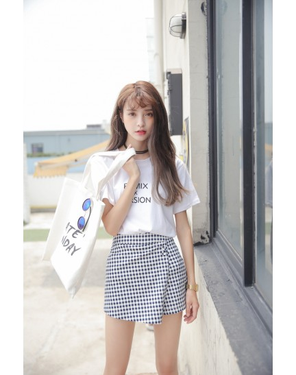 KPT10018849M Korea plaid skorts REAL PHOTO