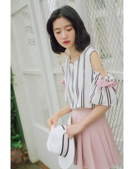 KPT10019908M Korea shoulder off stripes blouse REAL PHOTO