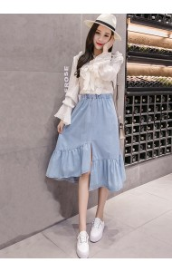 KSK1002961Q Plus size irregular soft denim skirt REAL PHOTO