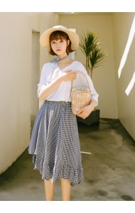 KSK10020028M Irregular plaid skirt REAL PHOTO