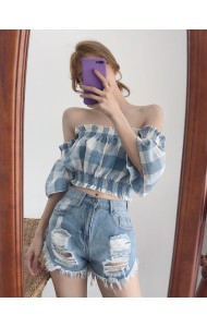 KTP10020225Q Plaid shoulder off mini top REAL PHOTO