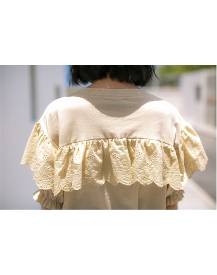 KTP10046848K Puff sleeves crochet ruffle t shirt REAL PHOTO