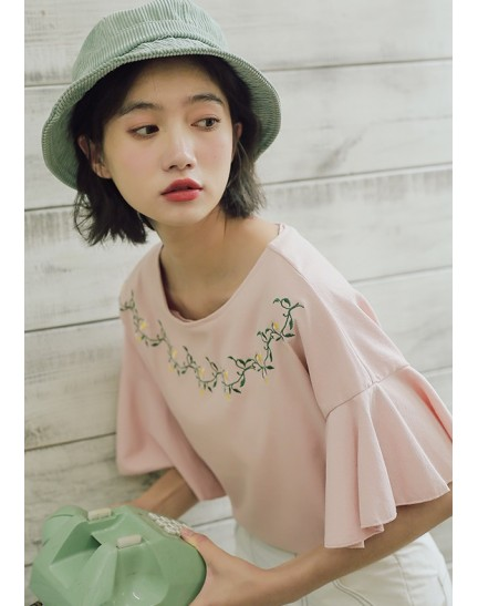 KTP10087223L Trumpet sleeves embroidery t shirt REAL PHOTO