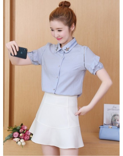 KTP10080168X Embroidery collar ruffle sleeves shirt REAL PHOTO
