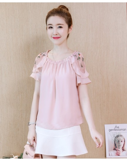 KTP10080206D Off shoulder embroidery ruffle blouse REAL PHOTO