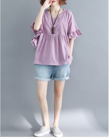 KTP10081588Z Trumpet sleeves plus size blouse REAL PHOTO