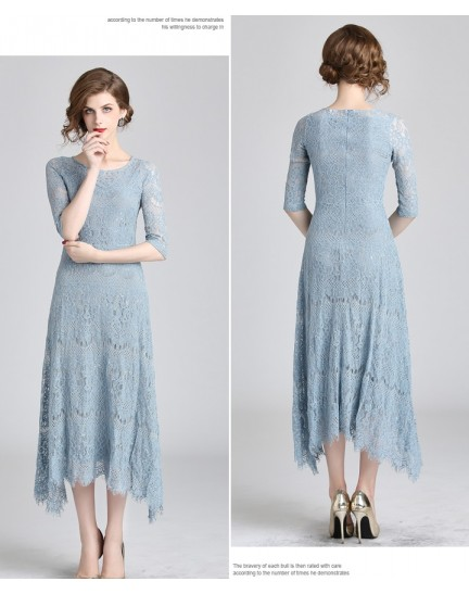 BDS10092119S Full lace irregular maxi dress REAL PHOTO