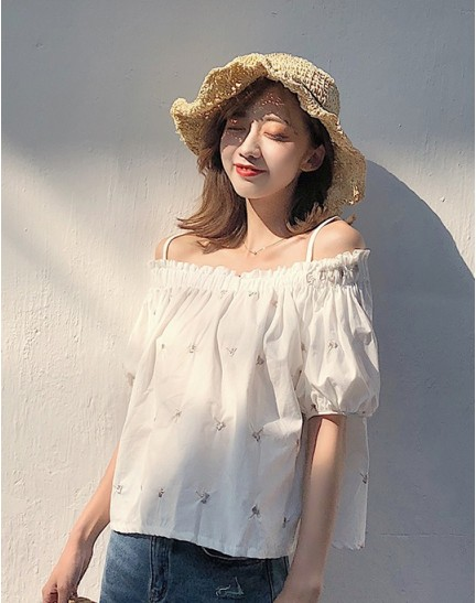 KTP10106133L Off shoulder embroidery blouse REAL PHOTO