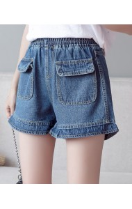 KPT10151869Y Plus size ruffle denim shorts PHOTO