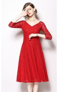 BDS10181169H V neck full lace dress PHOTO