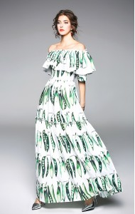 BDS10191416X Off shoulder bean print maxi dress PHOTO