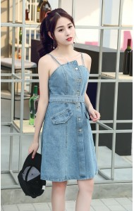 KDS10242606S Denim strappy belted dress PHOTO