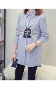 KTP10307539K Plus size embroidery stripes cat shirt PHOTO