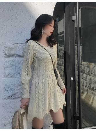 KDS11052908M Autumn cable knit dress REAL PHOTO