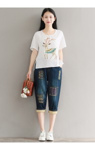 KTP11052581H Embroidery deer linen blouse REAL PHOTO