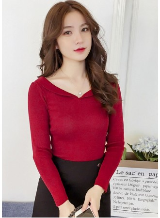 KTP110503TF V neck collar knit top REAL PHOTO