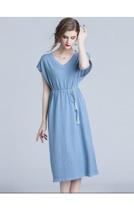 BDS11071098O V neck knit dress in blue REAL PHOTO